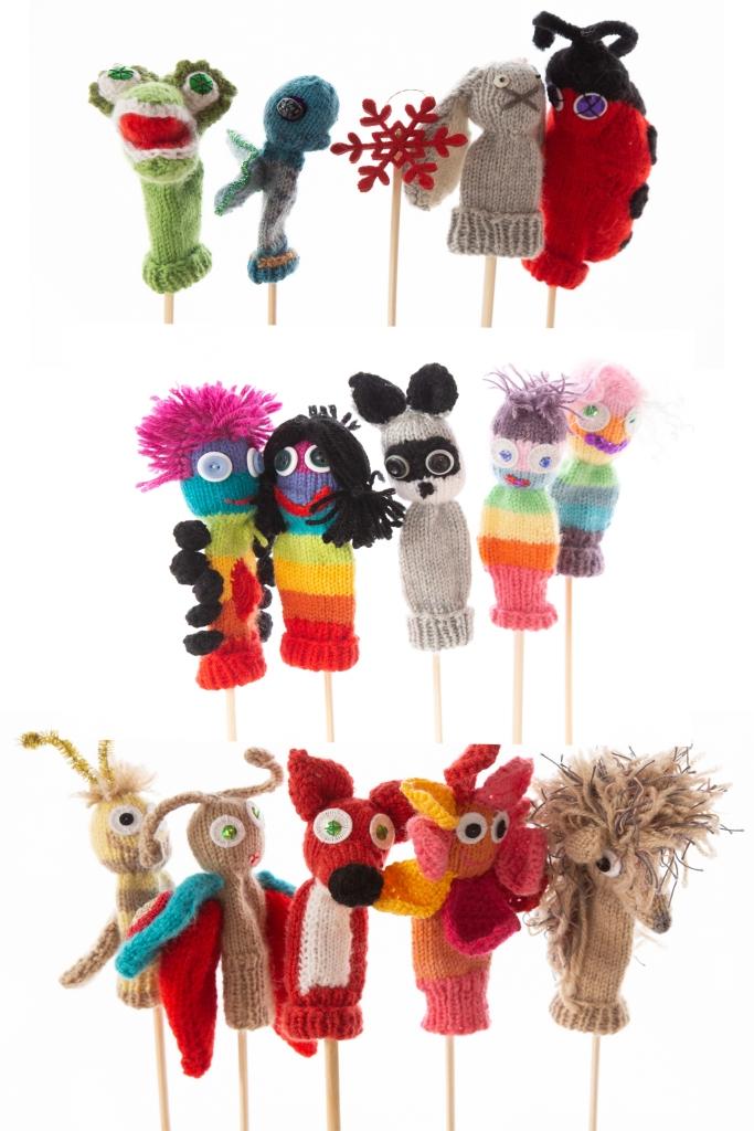 handgestrickte Fingerpuppen, in allen Farben, Tiere, Regenbogenwesen, Blumen, Sonnen