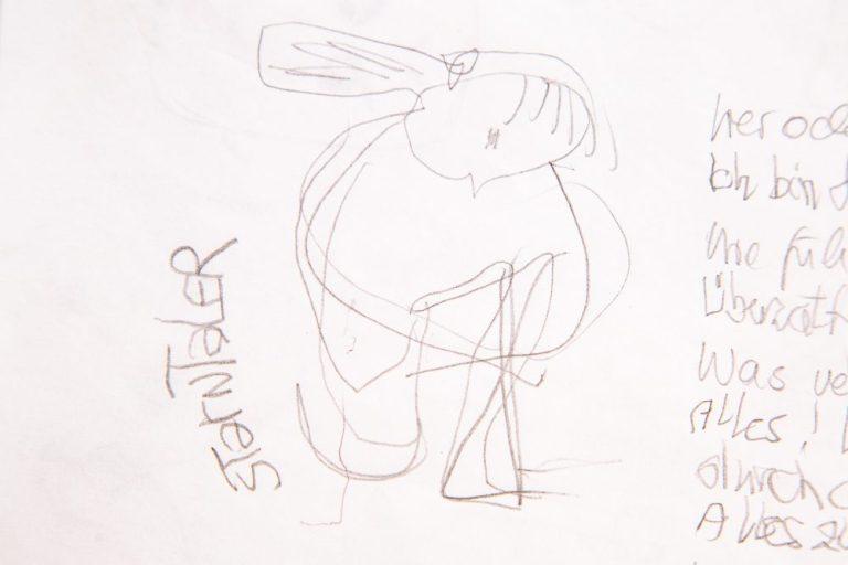 mit linker und rechter Hand gefertigte Skizze des Sterntaler Mädchens, das von mir mit der rechten und der linken Hand befragt wurde